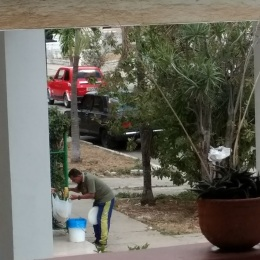 Picture taken from our porch of tamale man who was calling out on a daily basis.