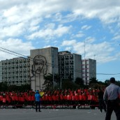 Cubans practicing for May Day celebration