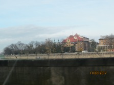 A view of our apartment from the other side of the Vistula River.