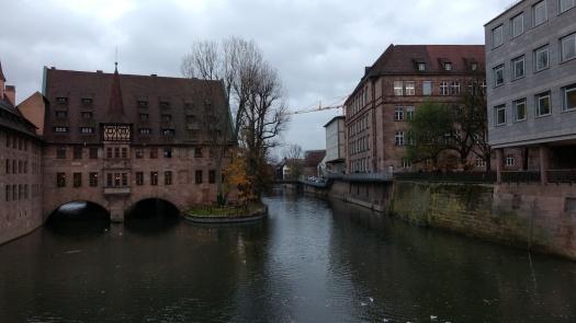 view from bridge in downtown nurenberg