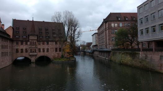 view from bridge in downtown nurenberg