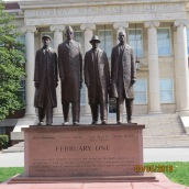 Statue of Greensboro 4 located in front of A&T's Dudley Building