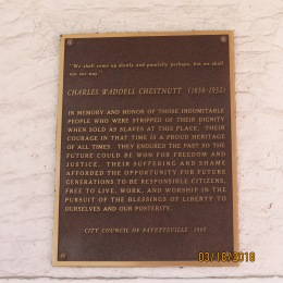 Plaque on inside wall of Fayetteville Market Place