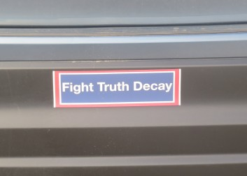 Bumper sticker sighted at beach.